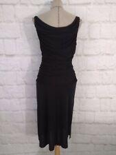 Vintage 70 women dress black tank club calf disco sleeveless drape neck size M
