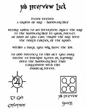 Job Interview Luck Spell Real Wicca Book of Shadows Spell Pages on Parchment
