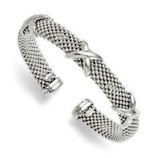 Platinum Sterling Silver Italian Mesh Hugs & Kisses Design Cuff Bangle Bracelet