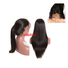 "26"" Women Long Straight Human Hair Wigs Lace Front Full Wig With Baby Hair & Cap"