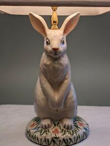 "Vintage Wildwood Porcelain Brass Bunny Rabbit Table Lamp 30"" Tall"