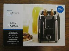 Mainstays 2-Slice Toaster Black Kitchen Toaster Wide Slot Bread Bagel Bun New