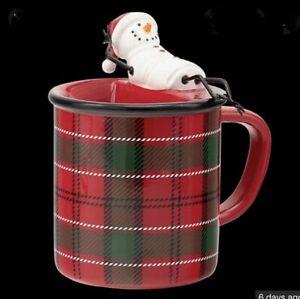 Scentsy MELT MY HEART  Wax Warmer Plaid Coffee Mug Snowman ☃️ NEW Element