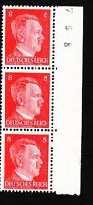 Germany 3 Strip Hitler Head 8p Control # Selvage ? Mint Never Hinge Stamps K