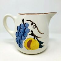 Stangl Pottery Fruit Hand Painted One Quart Pitcher 5 1/4 Inch Vintage