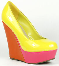 Yellow Orange Pink Patent Round Toe High Heel Platform Wedge 7 us Breckelles