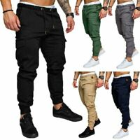 Mens Urban Solid Slim Fit Zipper Shirring Twill Cargo Jogger Pants Trousers