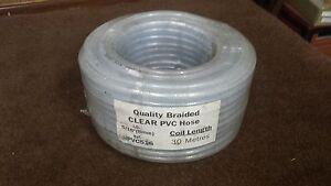 CLEAR PVC BRAIDED HOSE, 30 MTR ROLL 5/16 - 8MM ID