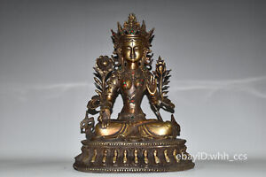 "10.4""China Tibetan Buddhism brass Inlaid gems White Tara Buddha statue Ornaments"