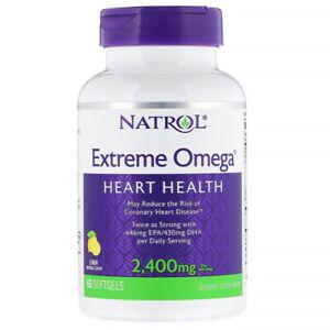 Natrol Extreme Omega Health Heart & Reduce Coronary Disease 2400mg 60 Softgels