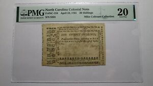 1761 20 Shillings North Carolina NC Colonial Currency Note Bill! 20s! PMG Graded