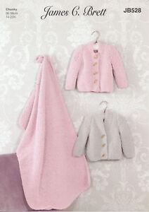 Knitting Pattern Baby Cardigans & Blanket James Brett Flutterby Chunky JB528