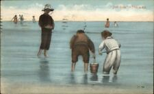 Kids Playing on Beach w/ Pail - Publ Atlantic City c1910 Postcard