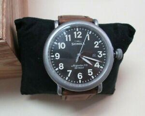 Men's Shinola 'The Runwell' Dark Grey Dial Brown Leather Strap Watch S0120141505