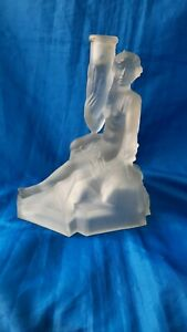ANTIQUE ART DECO 1930`S SEMI NUDE FEMALE FROSTED MOLDED GLASS LAMP BASE