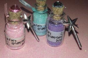 Beautiful Fairy Godmother Magic glitter dust bottle & Wand charm / Godmother