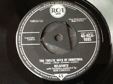 HARRY BELAFONTE / THE TWELVE DAYS OF CHRISTMAS / SILENT NIGHT . 1958  RARE 7""