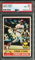 1976 Topps #50 Fred Lynn PSA 8 NM-MT