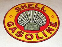 "VINTAGE ""SHELL GASOLINE SEASHELL"" 11 3/4"" PORCELAIN METAL ENAMEL GAS & OIL SIGN!"