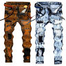 Men's Distressed Ripped Jeans Moto Biker Denim Pants Slim Fit Frayed Trousers