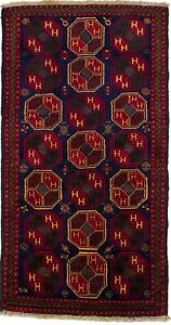 Rare Tribal Design Boho 3'5X6'7 Hand-Knotted Oriental Rug Foyer Kitchen Carpet