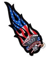 XXL HARLEY DAVIDSON FLAMING MOTOR USA VEST PATCH V-TWIN FLAG PATRIOTIC 2XL