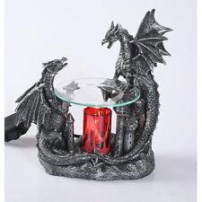 Black Double Dragon Burner Wax Tart Oil Candle Warmer Electric Polyresin