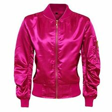 Women Ladies Satin Ma1 Bomber Jacket Vintage Summer Coat Flight Army Biker Retro Light Pink UK M (12)