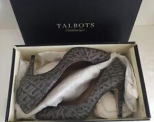 """NEW! $139 TALBOTS Shadow Grey MOC CROC Leather Pumps Heels """"Malania 3"""" 8.5AA"""