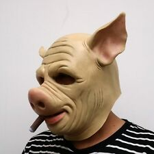 Cool Natural Latex Pigs with cigars Full Face Cosplay Halloween Mask Helmet HJ83