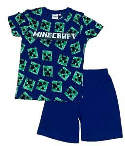 Boys Kids Minecraft Navy Cotton Pyjamas Pjs T-Shirt Shorts Set Age 5-12years