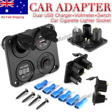 12V Car Cigarette Lighter Socket + Dual USB Port Charger + Voltmeter Panel BI315