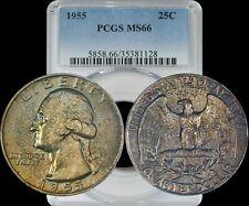 1955 Washington Quarter PCGS MS66 Gold/Bronze/Green Toned