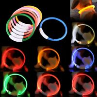 Rechargeable USB Waterproof LED Flashing Light Safety Pet Dog Collar LARGE 70CM