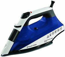 RUSSELL HOBBS 22522 2400W STEAM IRON WITH CERAMIC SOLEPLATE WHITE AND BLUE