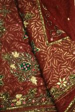 Antique Vintage Sari Pure Net Saree Decor Hand Beaded Wrap Indian Craft PNS1025