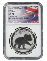 2016 P Australia 1oz Silver Koala NGC MS70 - Flag Label