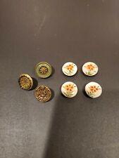 4 Antique Hand Painted Floral Porcelain Buttons 3 Antique metal
