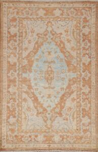 Geometric Oushak Oriental Area Rug Wool Hand-knotted Home Decor Carpet 3'x5'
