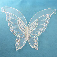 1 WHITE BUTTERFLY APPLIQUE / SEQUINS 260x225mm SEW ON MOTIF EMBELLISHMENT HL1121