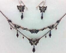 Avon conjunto pendientes y collar de abalorios de mariposa negro con cuentas Joyas Regalo Presente