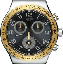 PRE-OWNED $210 Swatch Men's 'Golden Youth' Quartz Stainless Steel Watch YVS427