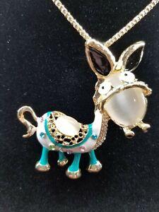 Betsey Johnson Blue Enamel & Crystal Rhinestone Inlay Donkey Pendant Necklace