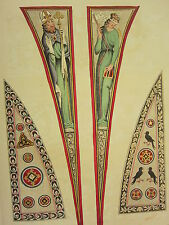 1795 PRINT GOTHIC ORNAMENT YORK MINSTER ~ HAND COLOURED COMPARTMENTS CEILING