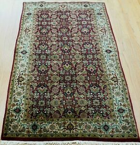 FINE IND-TABRIZZ FISH DESIGN HAND KNOTTED WOOL ORIENTAL RUG CLEANED  3' x 5'