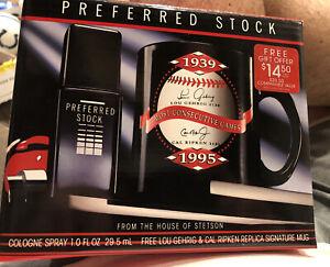 New Preferred Stock Cologne Gift Box Cal Ripken 1995 With Mug Lou Gehrig