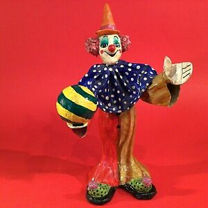 MEXICAN PAPER MACHE CLOWN VINTAGE VIBRANT MULTI COLOR HAND CRAFTED & PAINTED