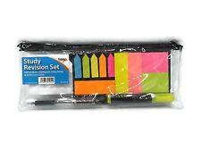 Conjunto de revisión de estudio Bolígrafo Resaltador notas adhesivas tarjetas de registro claro caso de lápiz