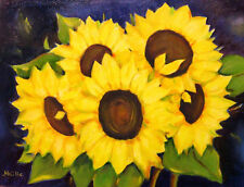 "Sunflowers  Flowers Original  Oil Painting Yellow  Wall Art  11 ""x 14"" Signed"