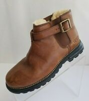UGG Vintage Ankle Boots Buckle Strap 5347 Brown Leather Sheepskin Pull On Sz 6